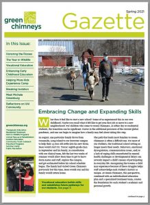 This image is a snapshot of the cover of the spring 2021 issue of The Gazette, a printed newsletter. The cover story features a photo of a student walking a donkey.