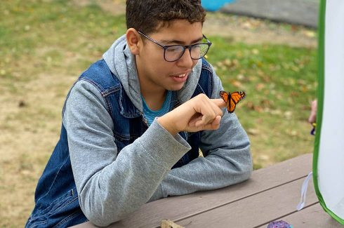 Green Chimneys students sits at a table outdoors and looks at the butterfly perched in his finger.