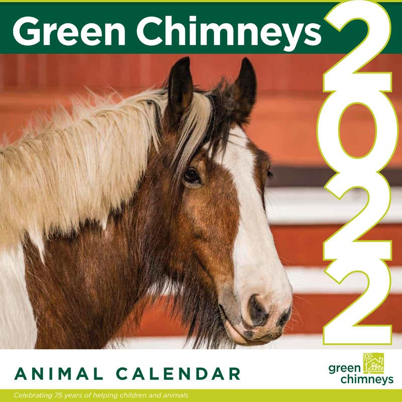 """Image features the cover of the calendar, including photo of horse with red barn background and text displayed in large copy """"Green Chimneys 2022 Animal Calendar""""."""
